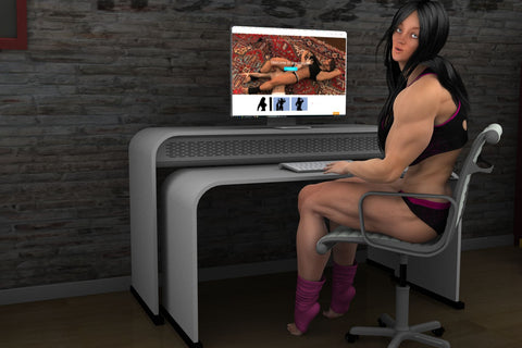 big, muscular katie at the computer