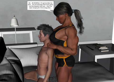 young female bodybuilder and tiny man