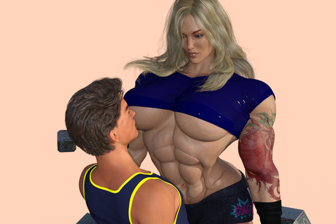 big female bodybuilder and schmoe