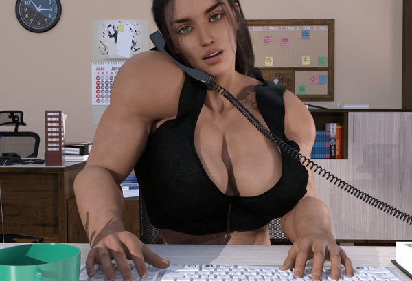 female bodybuilder muscular secretary