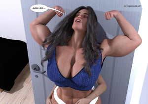beautiful musclegirl flexing big biceps