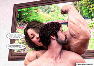 boyfriend licking girlfriend's big biceps