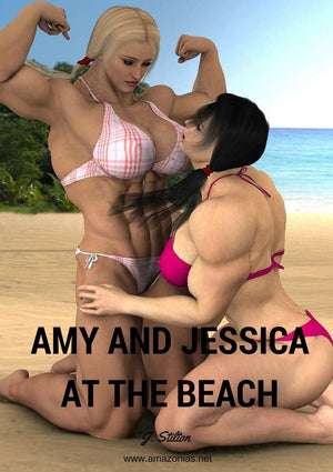 Amy & Jessica at the beach - female bodybuilder