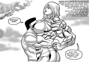 big female bodybuilder takes guy in tight hold