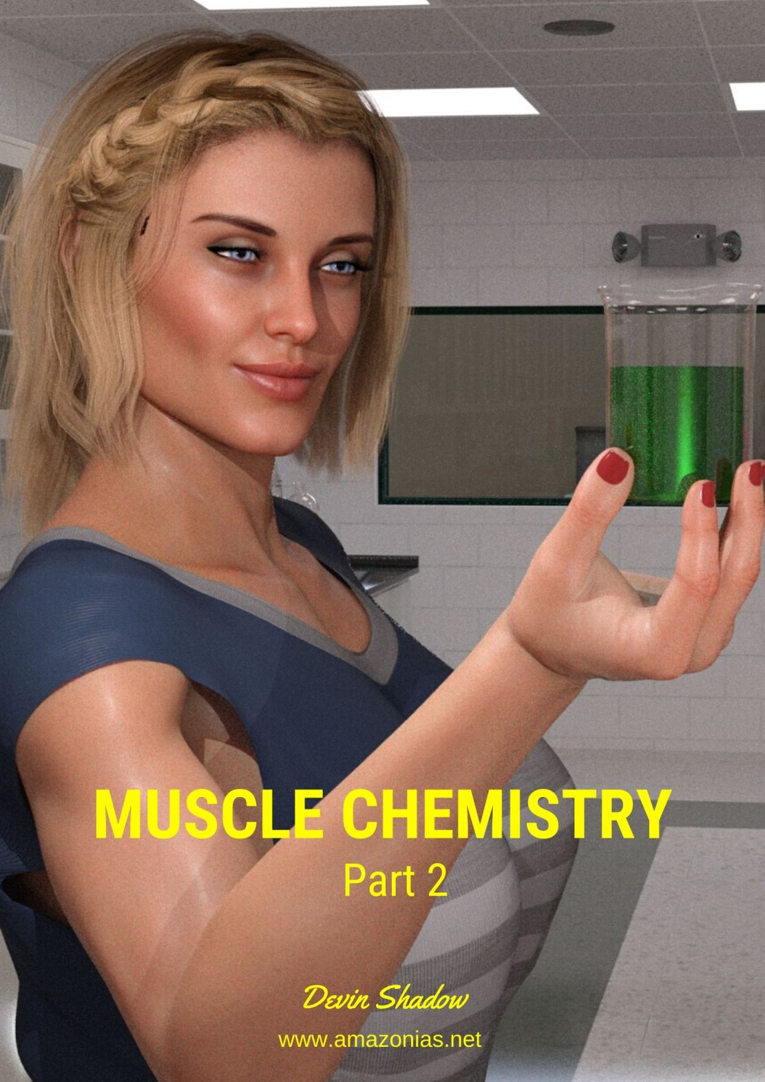 fit girl holding female muscle growth potion