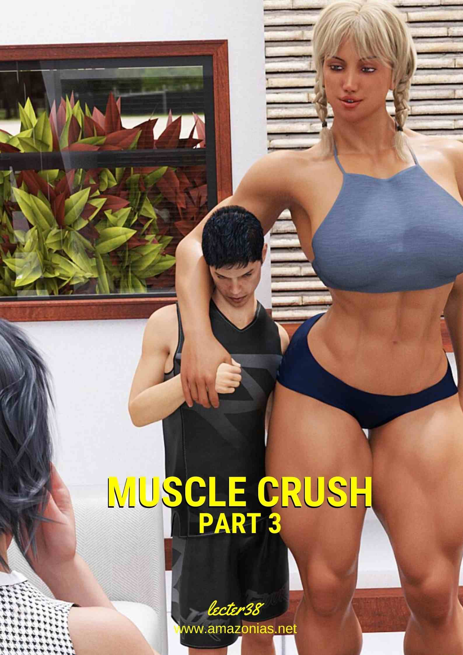 huge female bodybuilder and short man