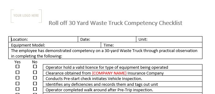 Roll off 30 Yard Waste Management Truck Competency Checklist