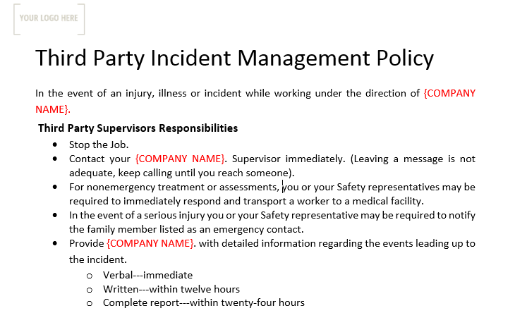 Third Party Incident Management Policy