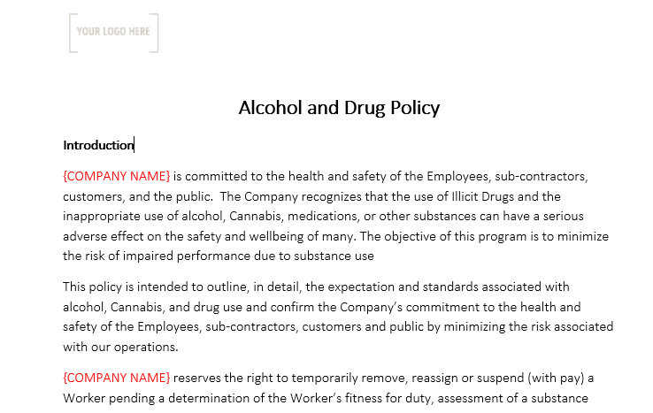 Alcohol and Drug Policy