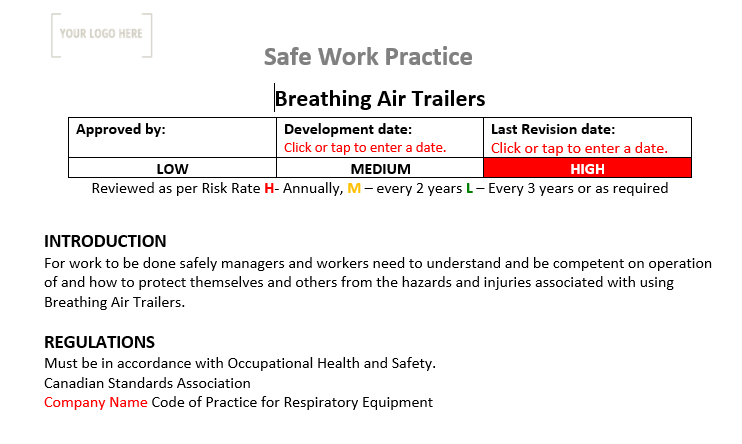 Air Trailers Safe Work Practice
