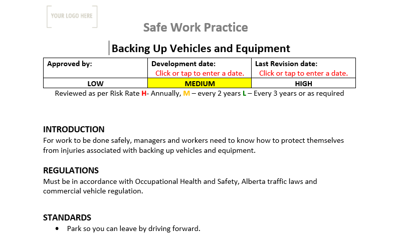 Backing up Vehicles and Equipment Safe Work Practice