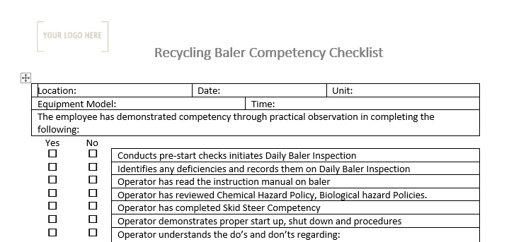 Baler Operation Competency Checklist
