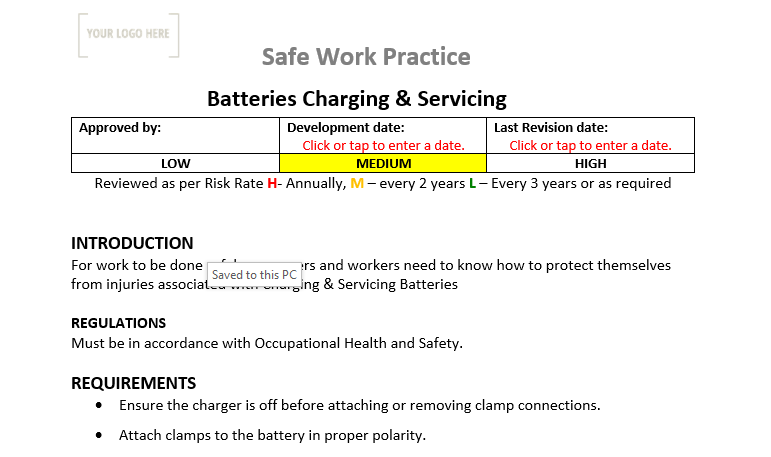 Batteries Charging and Servicing Safe Work Practice