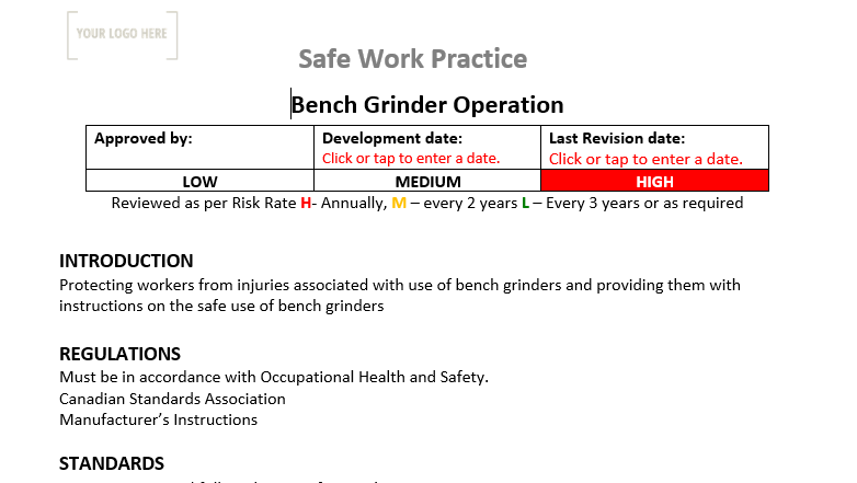 Bench Grinder Operation Safe Work Practice