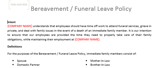 Bereavement Leave Policy