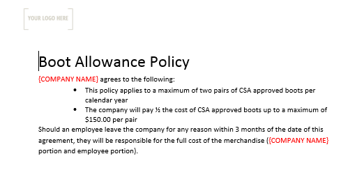 Boot Allowance Policy & Form