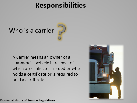 Commercial Vehicles Provincial Hours of Service Regulations Training