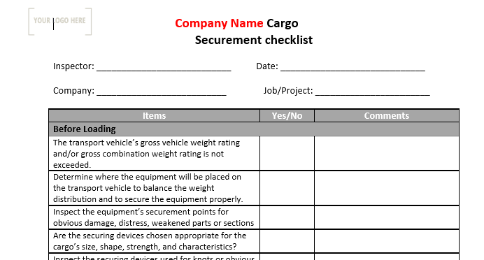 Cargo Securement Safe Work Practice