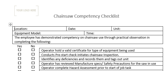 Chainsaw Competency Checklist