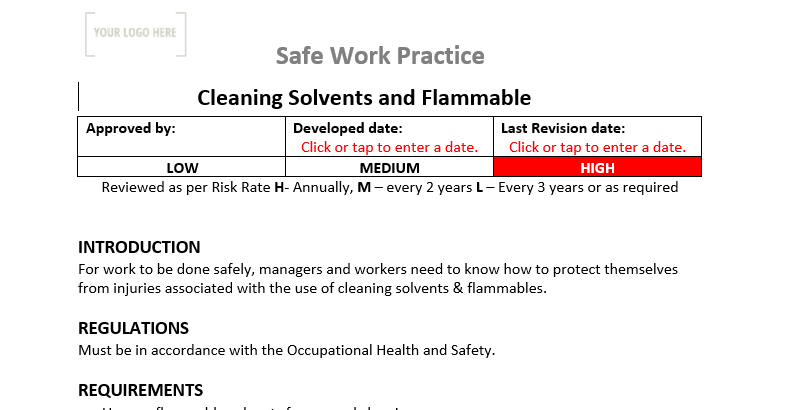 Cleaning Solvents & Flammables Safe Work Practice