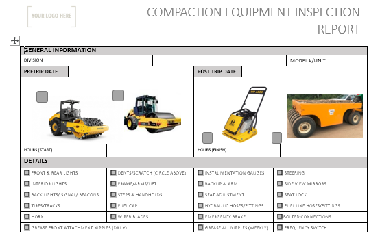 Compaction Equipment Pre Use Inspection
