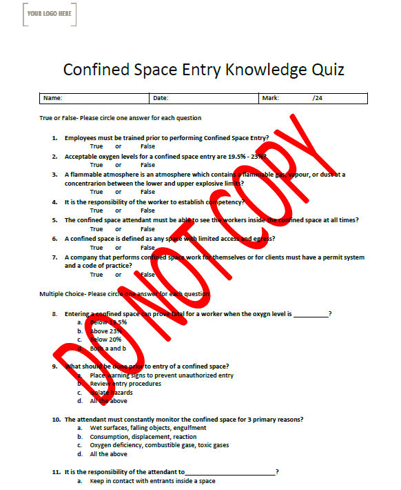 Confined Space Knowledge Quiz & Competency