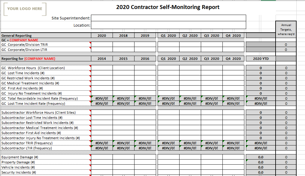 Contractor Self-Monitoring Report