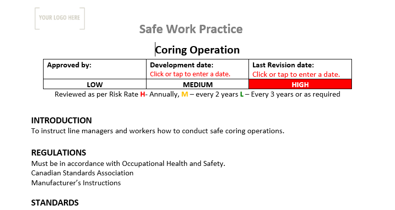 Coring Operation Safe Work Practice