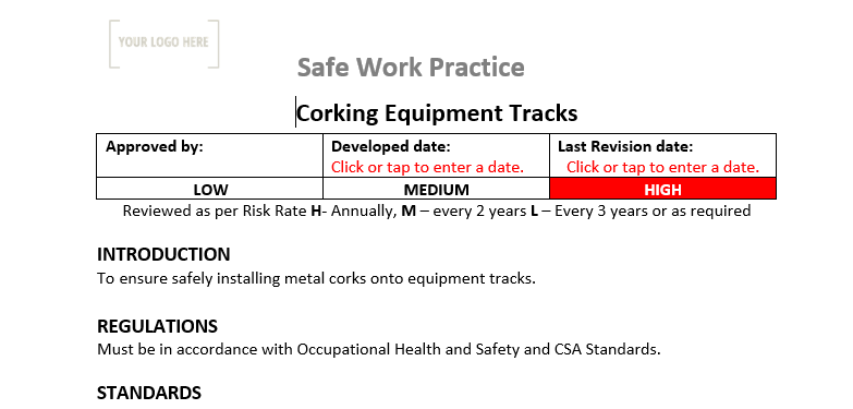 Corking Equipment Tracks Safe Work Practice