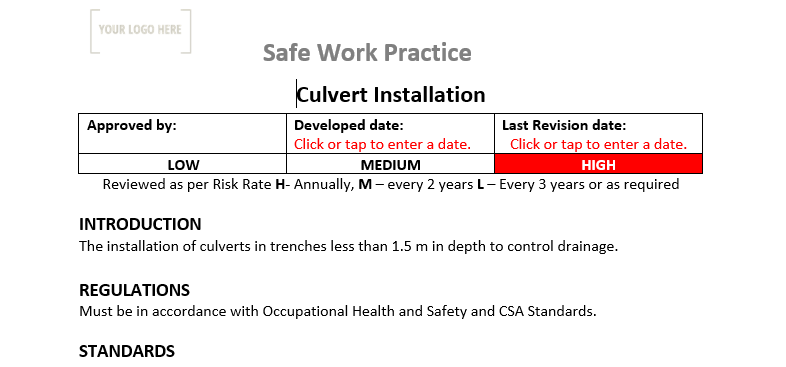 Culvert Installation Safe Work Practice