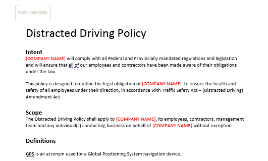 Distracted Driving Policy Sign off