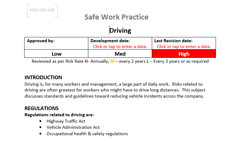 Driving Safe Work Practice