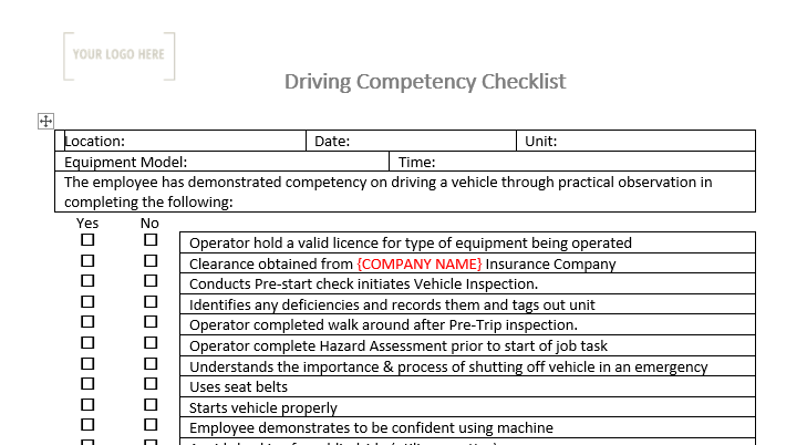 Driving Competency Checklist
