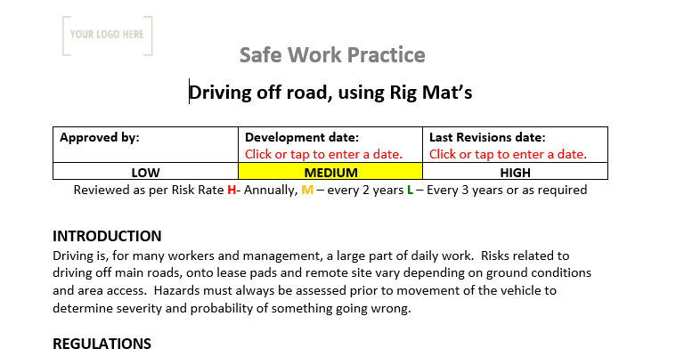 Driving Off Road – Using Rig Mat's Safe Work Practice