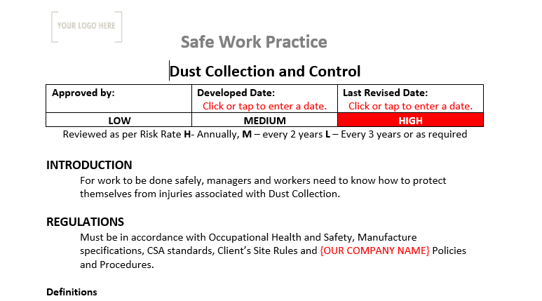 Dust Collection & Controls Safe Work Practice