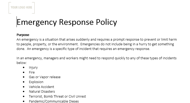 Emergency Response Policy