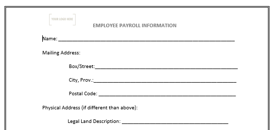 Employee Payroll Information Form