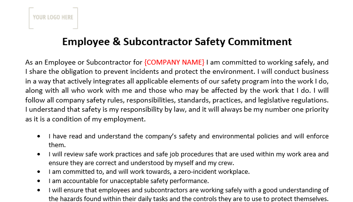 Employee/Subcontractor Safety Commitment