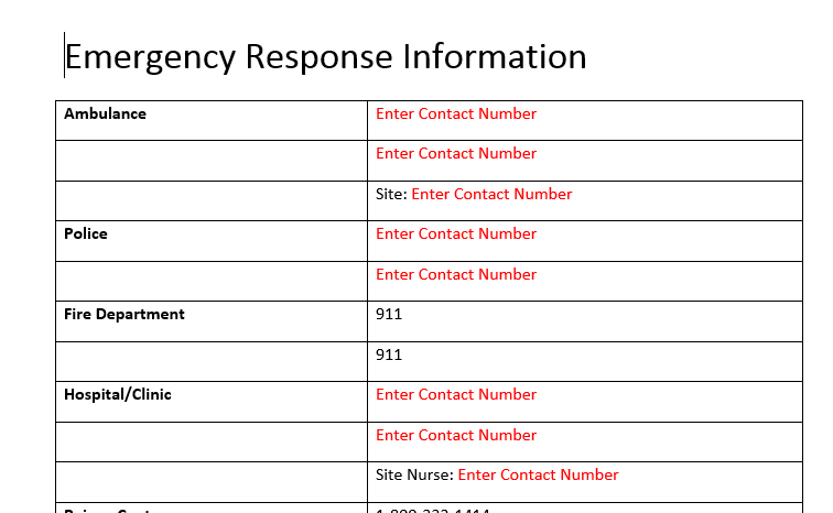 Site Specific Emergency Response Information form