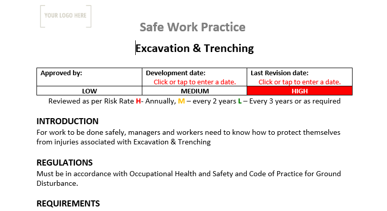Excavation & Trenching Safe Work Practice