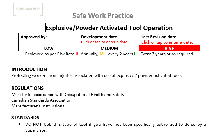 Explosive & powder activated tool Operation Safe Work Practice