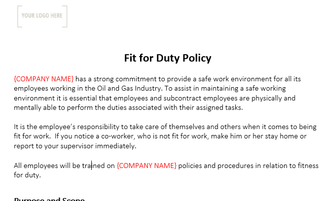 Fit for Duty Policy & Form