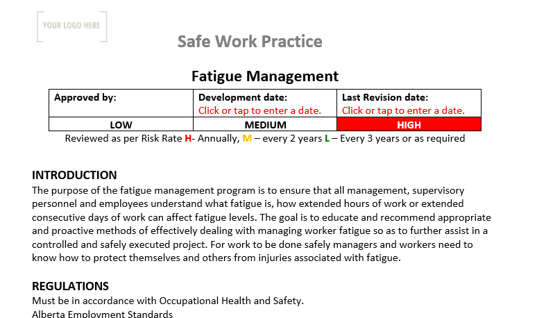 Fatigue Management Safe Work Practice