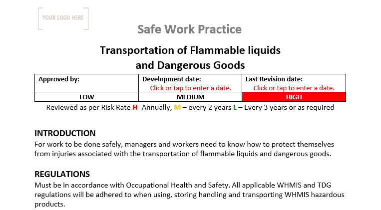 Transportation of Flammable Liquids & Dangerous Goods Safe Work Practice