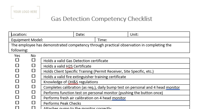 Gas Detection Competency Checklist