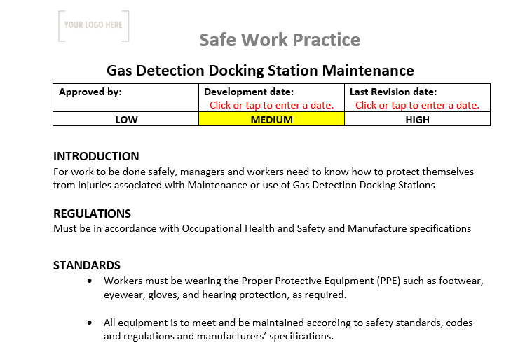 Gas Detection Docking Station Maintenance Safe Work Practice