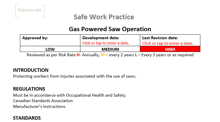 Gas Powered Saw Operation Safe Work Practice