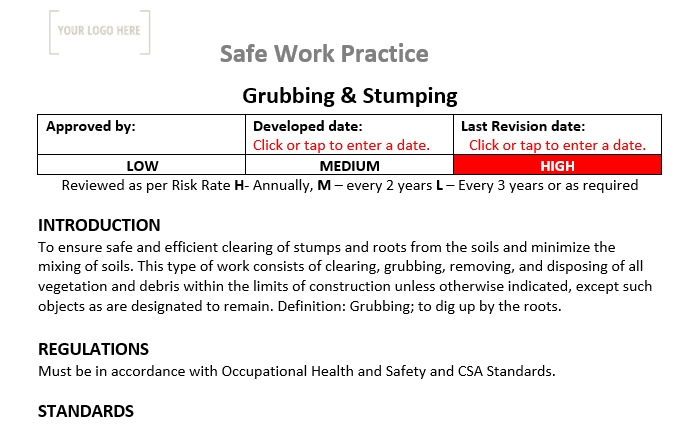 Grubbing & Stumping Safe Work Practice