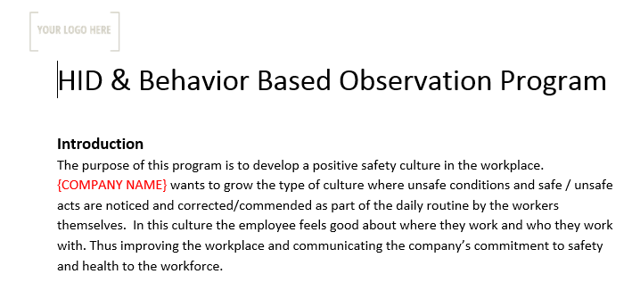 HID & Behavior Based Observation Program