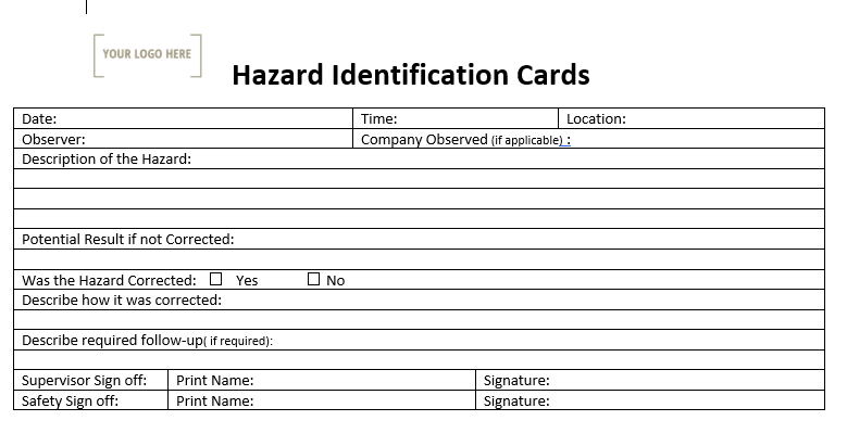 Hazard Identification Card